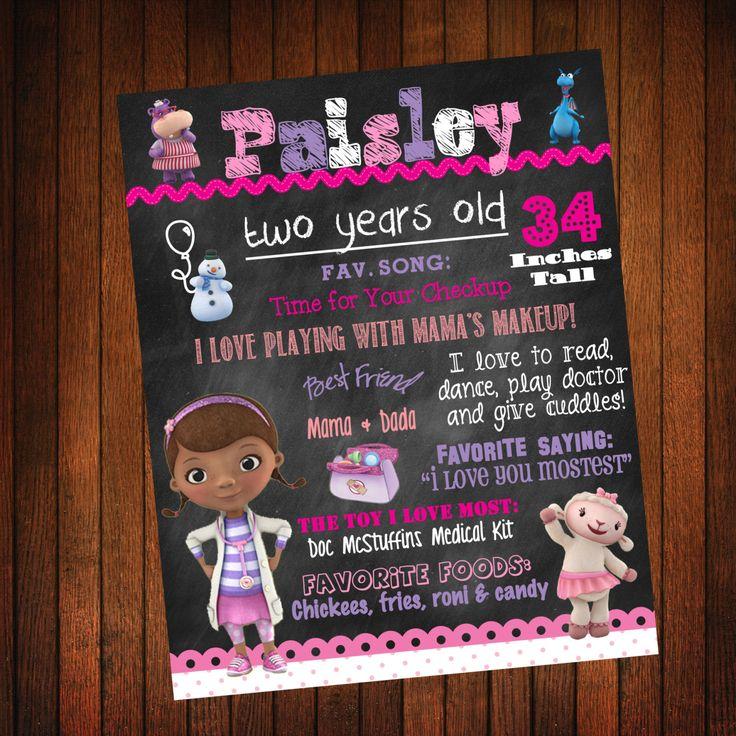 Custom+Birthday+Board+Doc+McStuffins+Theme+by+ThatsSoCuteEtsyShop,+$36.00
