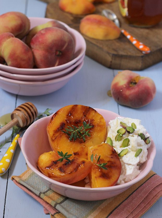 Mediterranean summer breakfast of peaches, honey & ricotta
