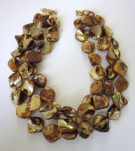 Chunky Coppery Brown Triple Strand Blister Pearl Necklace