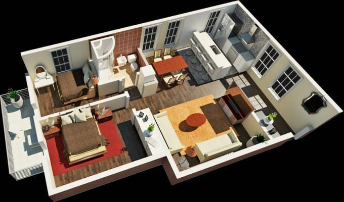 Seesaw I Will Create Rendered 3d Floor Plan In 3 Views Or Convert 2d To 3d For 10 On Fiverr Com Create Floor Plan Rendered Floor Plan Floor Plans