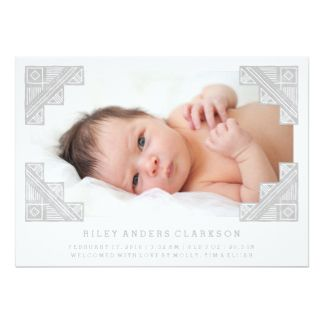 Stamped Corners Birth Announcement - Gray