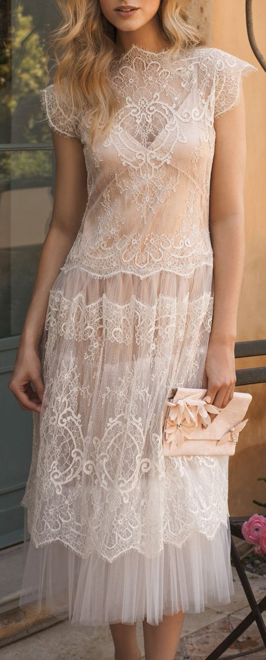 20's inspired tea length, love the lace neck but the under layer is immodest