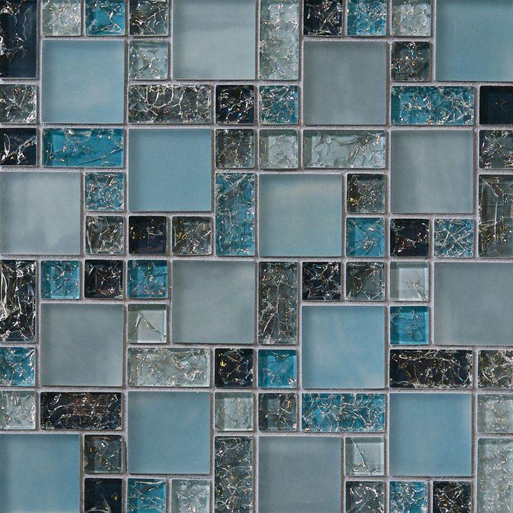 1-SF blue crackle glass mosaic tile Backsplash Kitchen wall bathroom shower sink #Unbranded