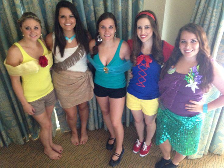 Disney bachelorette party! Each dressed as a princess!