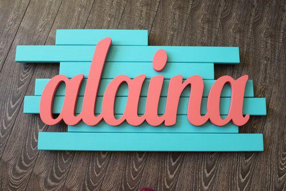 Alaina Wood Name Sign Baby Name Art Coral by CucumberAppleStudio  Nursery Wall Art, Baby Name Art, Nursery Decor, Name Wall Decal, Baby Name Letters, Nursery Art, Wooden Names