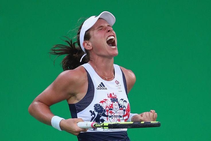 Johanna Konta celebrating a win at Rio 2016