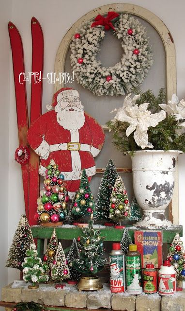 Vintage Bottle Brush Trees With A Large Bottlebrush Wreath ,displayed With  Other Christmas Decorations.