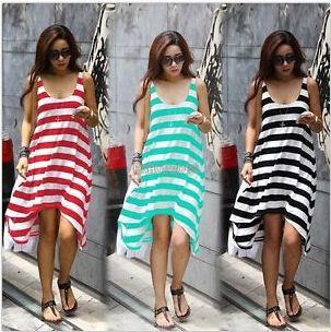 2015 новый свободного покроя женщин бохо богемный шеи полосы летний пляж длиной макси длиной до колен платье
