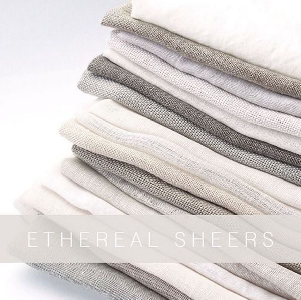 Ethereal. Wide width Sheers with Natural Character. Over 60 variations. #threadcountinc #ethereal #sheers #natural #luxury #interiordesign #interiorlove #linen #drapery