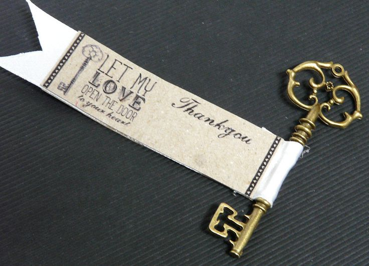 Vintage Style Skeleton Key Favour Gift Weddings Receptions WHITE x 5