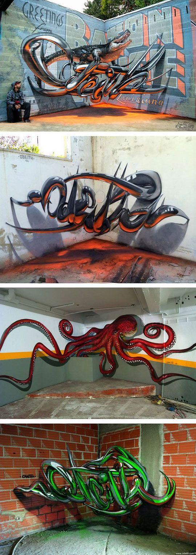 Artistas Portugueses crean sorprendente Graffiti 3D, parece como si flotaran en el aire. Genial!!:
