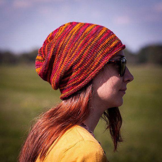 Orange Red Burgundy Flecked Slouchy Beanie Hat / by RUKAMIshop