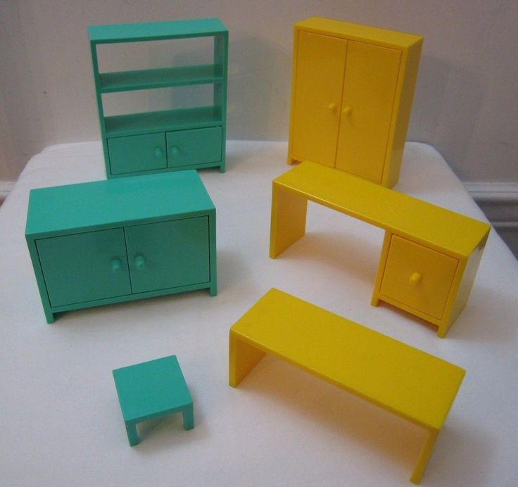 Lot Of 6 Ikea Dollhouse Furniture Bookcase Wardrobe Desk Buffet Table  Plastic