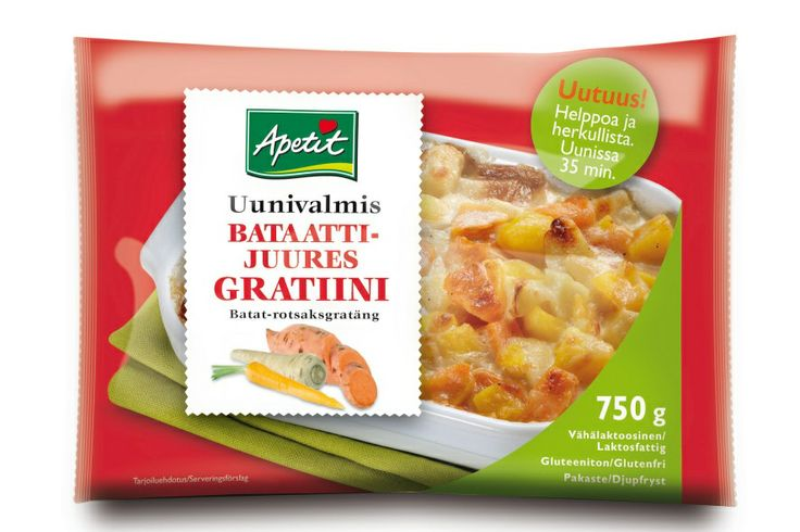 Apetit uunivalmiit gratiinit, vihdoin löytyi gratiineja taas hyllystä ja päästiin testaamaan: Bataatti-juuresgratiinista,tonnikalasta ja juustosta syntyi Maukas ja helppo arkiruoka salaatin kera