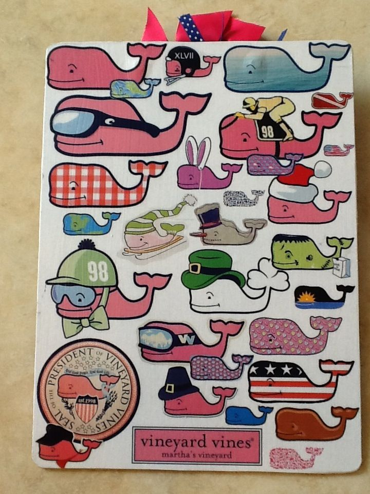 My wife's Vineyard Vines whale clipboard (back) for the new school year.