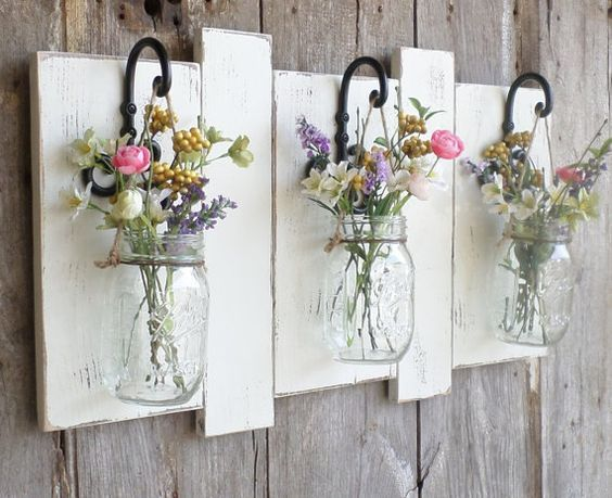 Ready to Ship..NEW…Rustic Farmhouse…Reclaimed Wood Wall Decor…Set of 3 Hanging Mason Jars… Candle Holder.. Ready to Ship