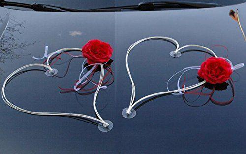 RATAN décoré de coeurs en rose pour mariée lot de 2 décorations de mariage décoration voiture pour mariage décoration rouge/blanc