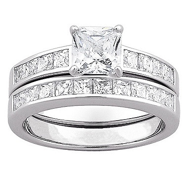 Limoges Sterling Silver Square Cubic Zirconia 2-Piece Wedding Ring Set  #ilovetoshop