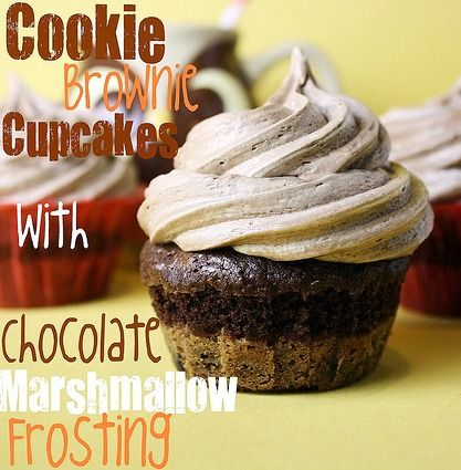 Cookie Brownie Cupcakes with Chocolate Marshmallow Frosting -- so quick and easy to make and OMG the frosting!