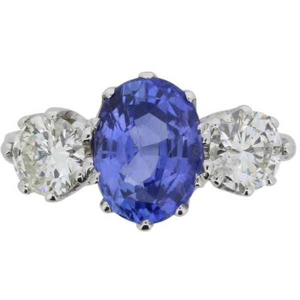 Preowned Sapphire Diamond White Gold Three Stone Ring Circa 1950s ($7,051) ❤ liked on Polyvore featuring jewelry, rings, white, oval diamond ring, white sapphire rings, star sapphire ring, white gold jewelry and white gold diamond rings