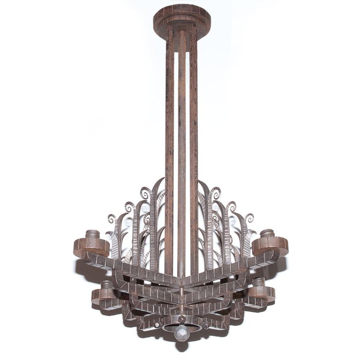 Art Deco Style Iron Four-Light Chandelier  Height 35 inches, width 26 inches.