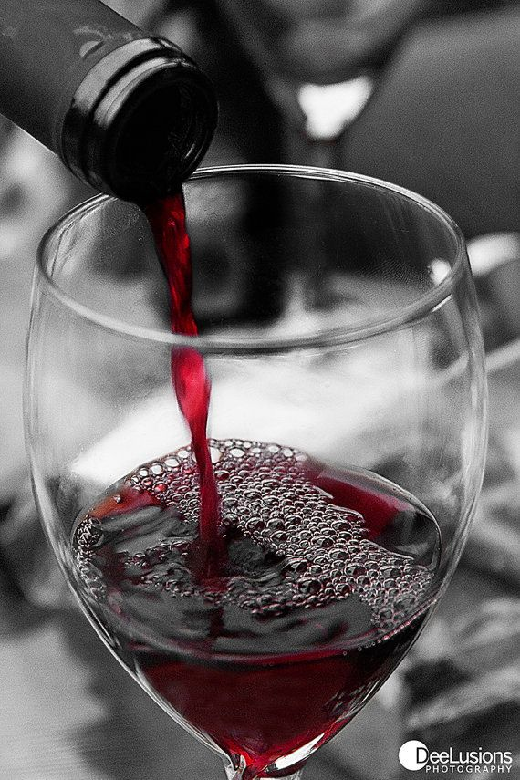 Red Wine Print Macro Photography Black & White Close by DeeLusions, $12.00