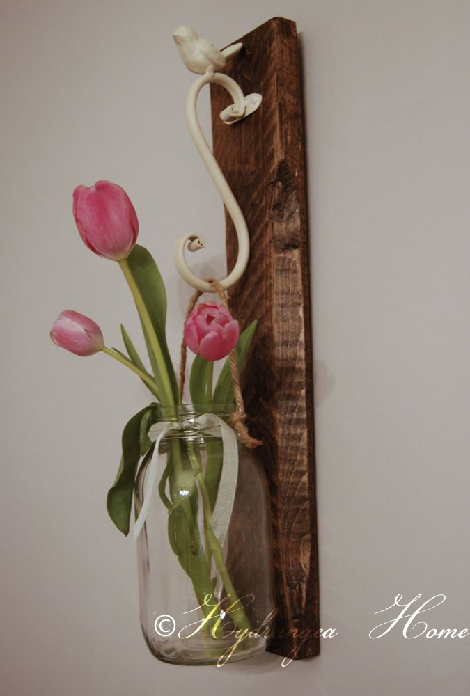 Bird Hook with Hanging Vase/jar on Reclaimed Wood-country, cottage, farmhouse, hanging vase, hook, bird