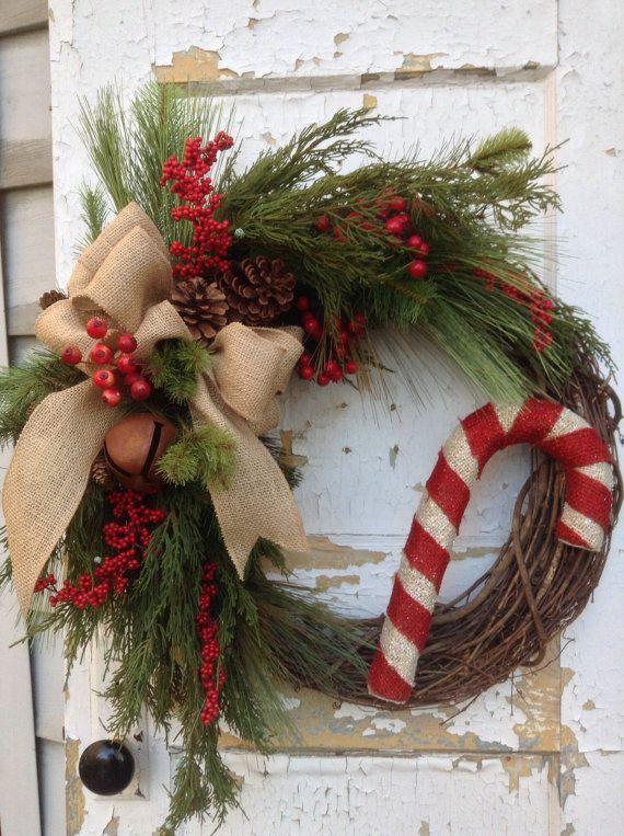 Christmas wreath for door rustic wreath holiday by FlowerPowerOhio