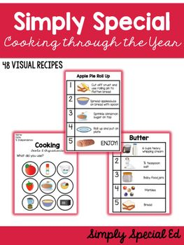 Visual Recipes for the classroom for the WHOLE YEAR! 48 visual recipes included, 4 for each month & a summer bundle!Each Recipe includes: - Visual Recipe- Tools and Ingredients List- Sequencing Page- Survey- Tools and Ingredients worksheetNO OVEN OR STOVE NEEDED!