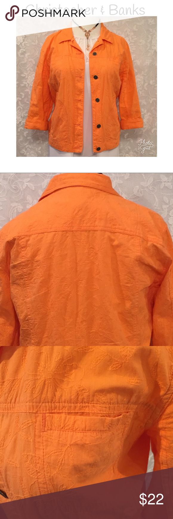 "CHRISTOPHER & BANKS ORANGE COLOR JEAN JACKET STYLE Christopher & Banks jean jacket style! Orange color. 3/4 sleeve length. 6 buttons down the front. Beautiful stitched floral fabric. Fabric is100% cotton. Measurement: chest-44"", waist-42"", bottom-44"", length-24"", sleeve length 18"". Bottom of jacket can be made smaller with adjustable buttons...see pictures. Sleeve can be folded up once to measure 15"" length. 2 chest pockets on each side.  2 side faux pockets.  Excellent used condition…"