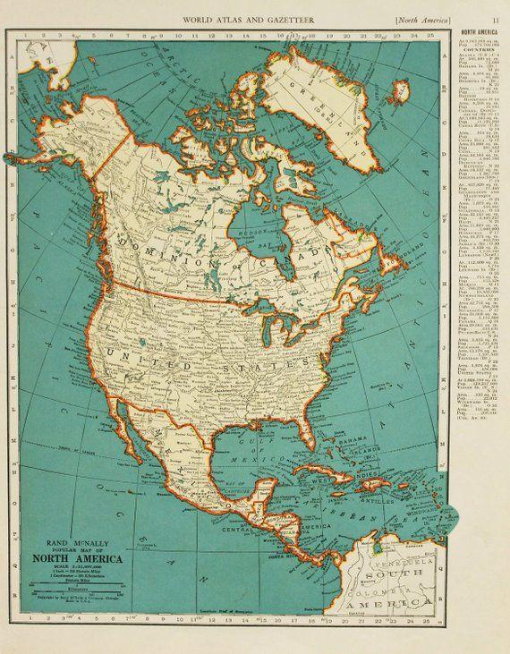 Vintage Map North America From 1937 Original Mapas Antiguos Mapas Arte Con Mapas