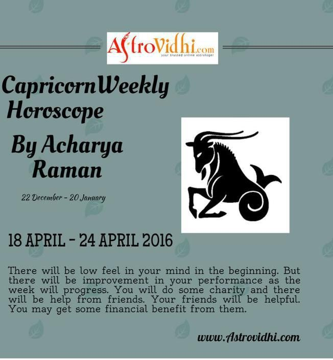 Check your Capricorn Weekly Horoscope (18/04/2016-24/04/2016).Read your weekly horoscope online Hindi/English at AstroVidhi.com.