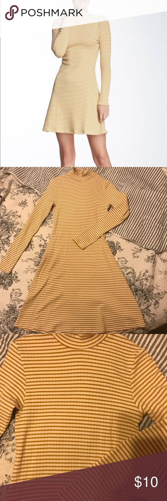 american apparel striped ribbed a-line dress so cute but i never wear it :( worn and washed once. it's in perfect condition! it's true to size i'd say even for american apparel. i'm an Xs but always buy S from american apparel and i think this could fit small or medium because it's very stretchy. American Apparel Dresses Long Sleeve