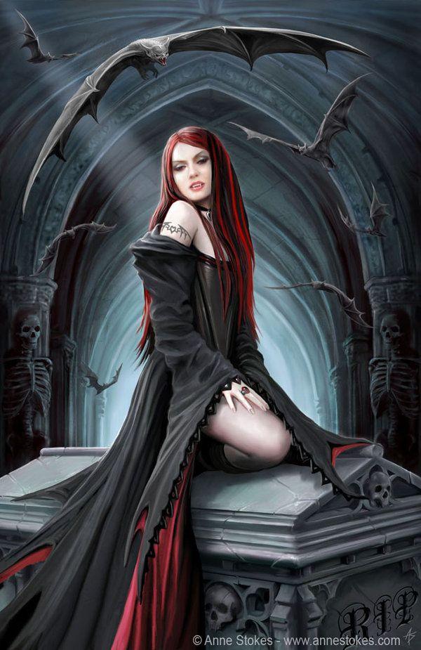 ஜ Await the Night ~  by *Ironshod ஜ: Artists Anne, Vampires, Beautiful Gothic, Fantasy Art, Gothic Art, Art Prints, Art Poster, Anne Stokes, Dark Side