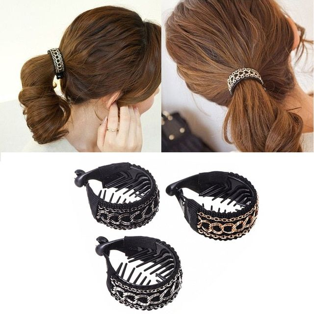Mism Women Vintage Ponytail Holders Metal Ring Chain Hairgrips Banana Hair Comb Clips Claw Round High Quality Hair Accessories Vintage Ponytail Banana For Hair