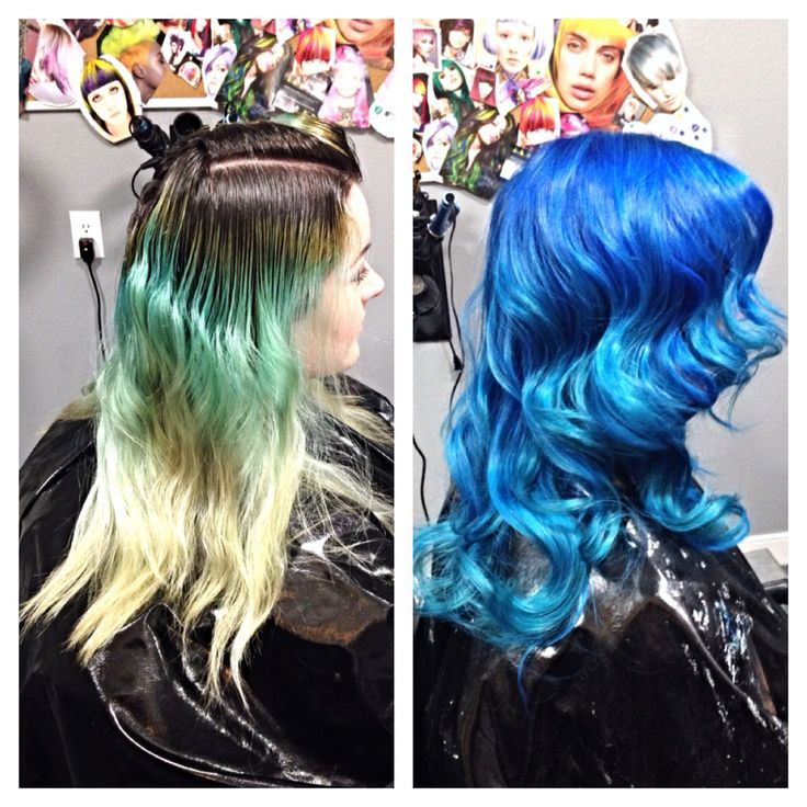 Manic panic midnight blue, shocking blue, and atomic turquoise ombré!