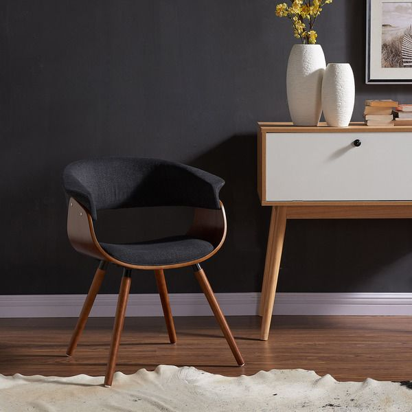 Accent any space with this gorgeous Mid-Century Modern chair. A curved bentwood frame in a walnut finish with charcoal grey upholstery nicely complements many living room decors. The solid rubberwood