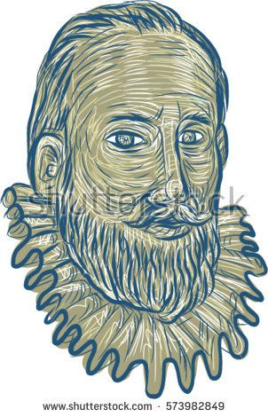 Drawing sketch style illustration of bust of Sir Walter Raleigh, an English landed gentleman, writer, poet, soldier, politician, courtier, spy and explorer bust front on isolated white background.  #SirWalterRaleigh #sketch #illustration