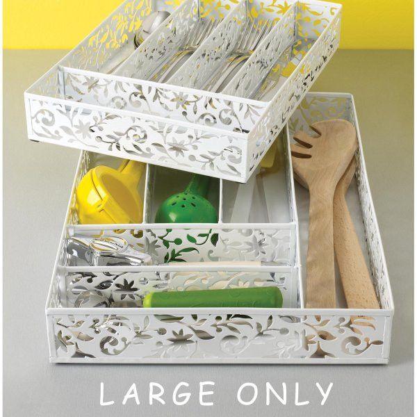 "Vinea Cutlery Tray Large (White) (2.2""H x 15.9""W x 11.2"" L)"