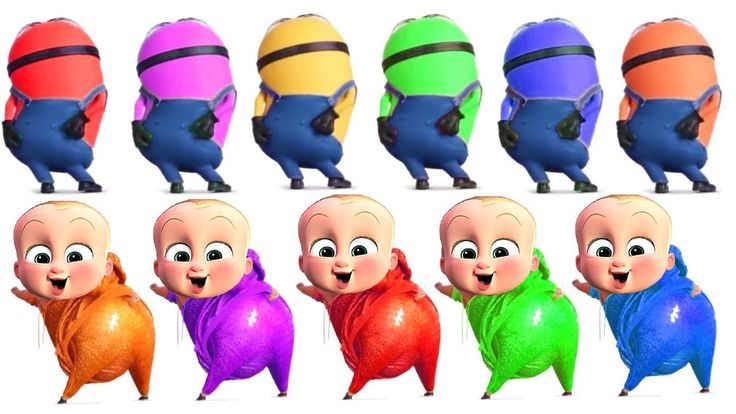 Learn colors with The Boss Baby and Evil Minions Banana Song for Kids Funny Movie - Learning Videos