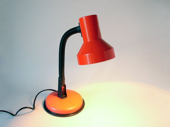 Vintage Red Black Italian Desk Lamp Gooseneck Lamp Veneta