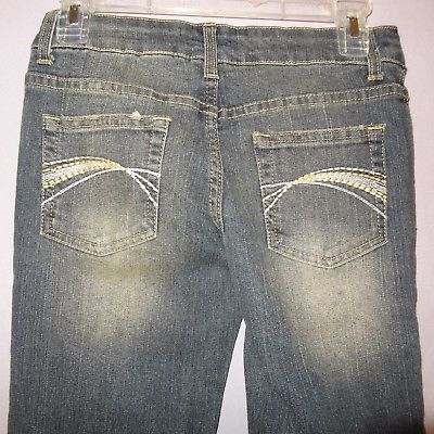 31ee90d5d3fdc Deb Jeans Blue Size 1 Denim Junior Womens Distressed Faded Low Rise