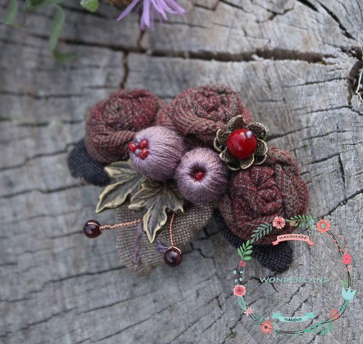Купить Винная сладость - бордовый, брошь, текстильная брошь, брошь цветок…