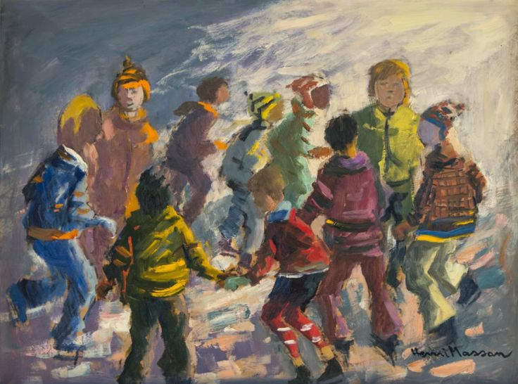 Henri Leopold Masson  Canadian (1907-1996)  skaters round  oil on board  signed lower right and titled on verso  18 x 24 in. (45.7 x 61 cm)  Estimate $ 4,000-5,000 Maynards Industries - Fine Art & Antiques Auction: May 6 2015 11:00 AM  www.maynardsfineart.com