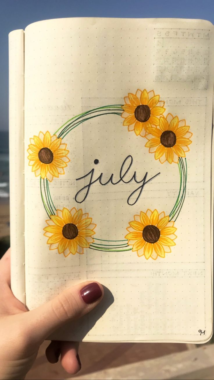 Monatliches Layout des Juli-Bullet-Journals