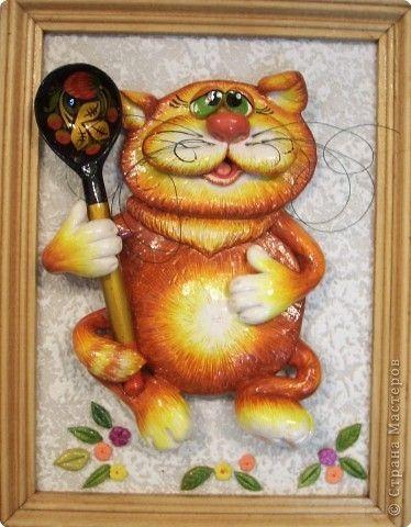 Картина панно рисунок Лепка Опять коты Тесто соленое фото 4
