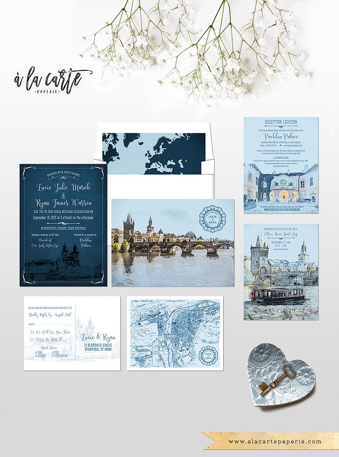 Prague Czech Republic Eastern Europe Destination wedding invitation Set…