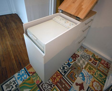 Clever Kitchen Cabinet Hides Full-Size Washing Machine - http://dornob.com/clever-kitchen-cabinet-hides-full-size-washing-machine/#axzz2xlfeQkLF