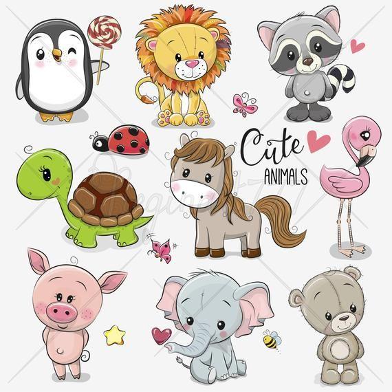 Cute Animals Clip Art Set Of 10 Hand Drawn 300 Png Files Etsy In 2021 Cartoon Animals Cute Cartoon Animals Cute Elephant Cartoon