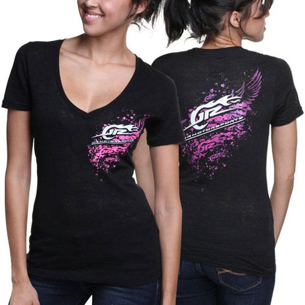 JR Motorsports Women's Deep V-Neck Wing Slim Fit T-Shirt - Black - $14.99
